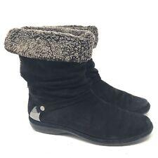 Stuart weitzman suede slouchy faux fur lined winter fashion boots black size 8