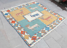 Turkish Rug 79''x77'&# 039; Special Production Sumak Kilim 203x197cm