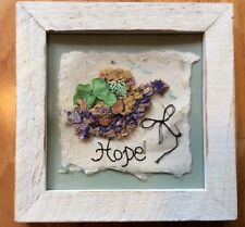 HOPE Hand made Hanging Plaque Pressed Herbs Wildflowers Weathered Frame Unique