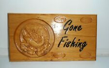 More details for handcrafted gone fishing sign carved in reclaimed english oak