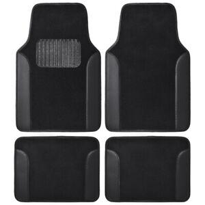 BDK Carpet Floor Mats Car Truck SUV, Black Two-Tone Design with PU Leather Trim