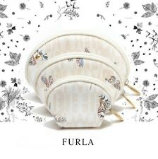 NWT FURLA Butterfly Dragonfly Logo Print Set 3 of Cosmetic Makekup Bags Pouches