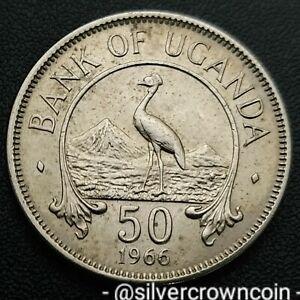 Uganda 50 Cents 1966. KM#4. Half Dollar coin. Crowned Crane. Bird. First year is