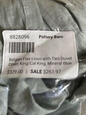 Pottery Barn Mineral Blue Belgian Flax Linen Duvet Cover King California Cal