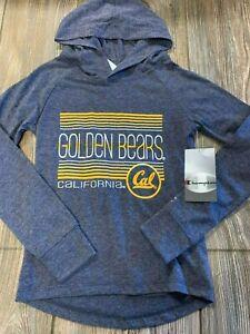 NWT Girls California Golden Bears Blue Lightweight Cotton Hoodie Shirt Small 6/7