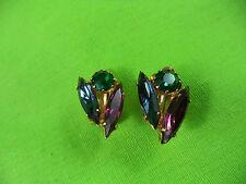 Vintage Green Purple Blue Geometric Oblong Diamond Shaped Rhinestone Earrings