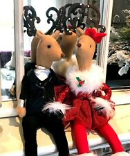 "24"" Christmas Reindeer Plush Decorations Couple Girl Tuxedo Red Holiday Dress"
