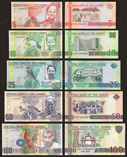 GAMBIA 5 10 25 50 100 Dalasis Set 5 PCS, 2006 2013, P 25 26 27 28 29, UNC