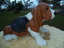 LG SITTING UP BASSET HOUND DOG CEMENT STATUE CUSTOM PAINT TO MATCH YOUR PET