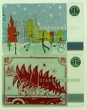 Starbucks Card 2005 City Skate & Christmas Tree w/pin exposed Old Logo