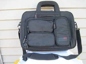"Mobile Edge 17"" Black Soft Side Padded Briefcase Messenger Bag Many Pockets New"