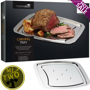 NEW MasterClass Spiked Meat Carving Tray Stainless Steel Silver FREE UK P&P