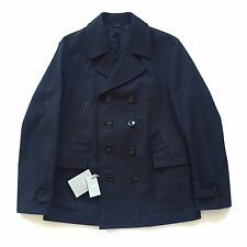 NWT $3.3k TOM FORD Men's Navy Blue Gabardine Twill Pea Coat Overcoat L AUTHENTIC