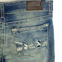 New BKE Stella Womens Jeans 31Stretch Distressed Bootcut Med Wash Blue Denim