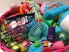Large Filled Easter Basket With Candy, Toys, Plush Bunny, Toy Eggs Warped