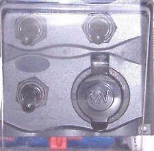 3-GANG SWITCH 51370 POWER 12V SOCKET BLACK FACE PANEL 15 AMP FUSES INCLUDED