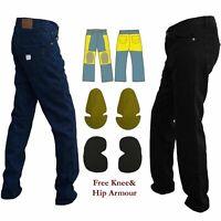 Mens Motorbike Motorcycle Black Blue Reinforced Jeans Made With DuPont™ Kevlar®M