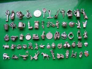 H) VINTAGE STERLING SILVER CHARMS CHARM CART HORSE BELL SHIP BIKE  HARP HEART