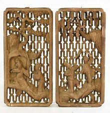 Pair of Antique Chinese Wood Color Carving / Panel w character story ,19th c