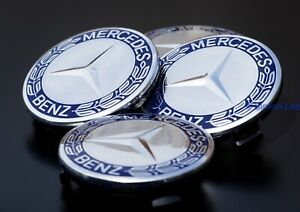 4 Mercedes Wheel Centre Hub Caps 75mm E C A Class Dark Blue Embossed Wheat Logo