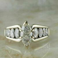 3 Ct Moissanite Diamond Marquise 14K Yellow Gold Finish Engagement Wedding Ring
