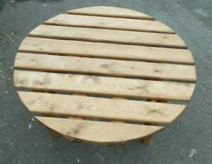 Round Pine Patio Side Table 33 inches diameter x 18  - high Buyer to collect