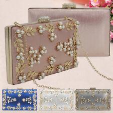 7536b3115d137 Women Vintage Flower Pearl Satin Clutch Bag Diamante Closure Party Wedding  Purse