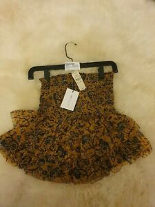 Isabel Marant Etoile Brinley Yellow Floral Ruff Silk Skirt Size 36 6-8 XS BNWT