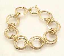 Textured & Shiny Multi Circle Link Bracelet Lobster Clasp Real 14K Yellow Gold