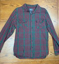 Men's Converse Plaid Long Sleeve Button Up Shirt Sz L Heavy Lumberjack Red Green