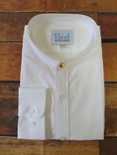 1920s 1930s Peaky Blinders Vintage Style White Collarless Shirt with Gold Stud