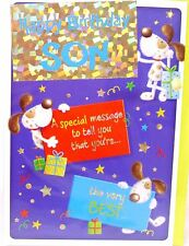 """Cute Dog Holographic Themed """" SON """" Birthday Card"""