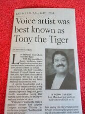 1949-2014 MARSHALL LEE OBITUARY VOICE ARTIST WAS BEST KNOWN AS TONY THE TIGER