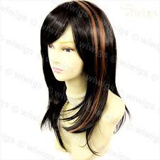 Wiwigs Impresionante Largo Recto Castaño Mezcla en capas y Negro parte superior de piel mujer de