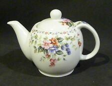 Ceramic teapot / tea pot, white & flower deco 2 -3 cup, & WIRE INFUSER BASKET