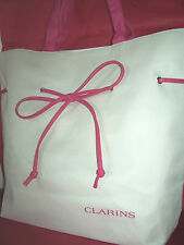 CLARINS Spacious Beach Tote Bag NEW*BUY 2 Get 1 FREE*Cream + Pink*Light-Weight