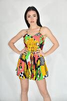 VINTAGE Mini Dress Pleated Abito Corto Fantasia In Cotone TG S Donna Woman