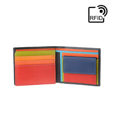 DuDu Portafoglio in pelle piccolo RFID da uomo Nero Multicolore con portamonete