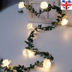 3M LED Rose Flower Fairy String Battery Lights Outdoor Indoor Garden Party Decor