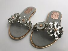 Ted Baker Womens Leather Slip On Sandals Sliders - Silver - Size Uk 2 - RRP £90