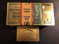 100 Pcs Zimbabwe 100 Trillion Dollar Gold Plated Bills+10 Certi./Not WR