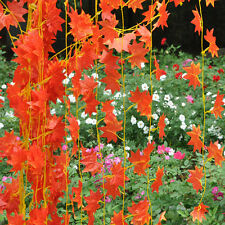 Red Autumn Leaves Garland Maple Leaf  Vine Fake Foliage Flowers Home Decor