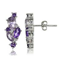 Sterling Silver African Amethyst and White Topaz Cluster Tonal Earrings