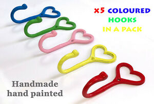 x5 Heart Shaped Cast Iron cup Hooks | Multicoloured Handmade | Kitchen storage