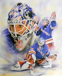 Henrik Lundqvist Signed NY Rangers Canvas Lithograph 20x24 STEINER HOLO KCCA007