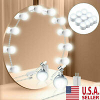 Make Up Mirror Kit 10 Bulbs Dimmable LED Light Hollywood Vanity Dressing Lamp US