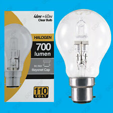25x 110V 46W=60W Halogène GLS B22 Transparent Construction Site Festoon
