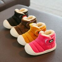 Toddler Infant Kids Baby Girls Boys Winter Solid Warm Short Boots Casual Shoes