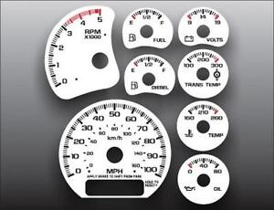 2001-2002 Chevrolet Silverado 2500 3500 Duramax Dash Cluster White Face Gauges
