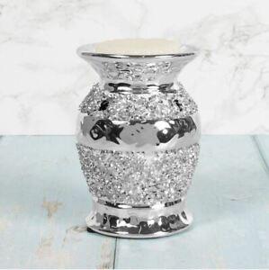 Silver Sparkle Oil burner Elegant  Oil Warmer Home Fragrance Wax Melt Candle NEW